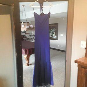 Cashe formal long hombre blue black dress